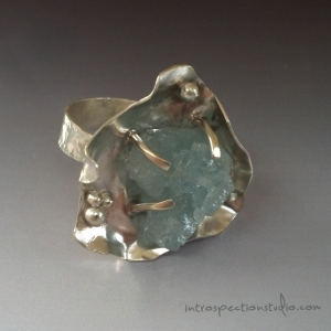 Sterling Earth Oyster Ring- aquamarine
